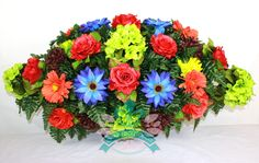 Gorgeous Fall Flower Mixture Cemetery Saddle Arrangement, $46.99