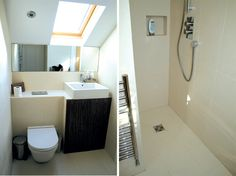 The space in this bathroom has been very cleverly used. The velux above the sink gives extra headroom and the mirror under the sloping ceiling reflects more light into the room. Very nice.