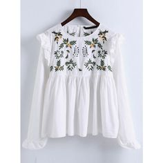SheIn(sheinside) Embroidery Ruffle Trim Pleated Blouse (€19) ❤ liked on Polyvore featuring tops, blouses, shirts, white, long sleeve shirts, long-sleeve shirt, ruffle blouse, white collar shirt and long-sleeve crop tops