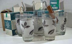 Libbey/rock Sharpe Silver Leaf Beverage Glasses by MarieWarrenArts, $135.00