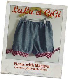 Picnic with Marilyn Vintage Bubble Shorts Girls by LuLuetGiGi, $35.00