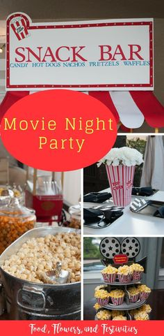 Red carpet movie party - Create an outdoor movie night party at home. See ideas for food, decorations, favors, and games th - Backyard Party Games, Backyard Movie Nights, Outdoor Movie Nights, Backyard Ideas, Game Night Parties, Movie Night Snacks, Movie Night For Kids, Night Games, Family Game Night