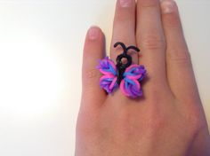 RAINBOW LOOM - RING / BAGUE - BUTTERFLY / PAPILLON / VLINDER - **NOT IN ENGLISH** - IN NEDERLANDS