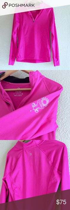 MPG Athletic Pink Pullover Bright fuchsia pink workout pullover! Long sleeves with zipper collar. No damage or stains. Great condition! MPG Jackets & Coats