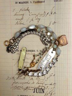 Paula Montgomery 3 Strands Repurposed Bracelet with Tiny Knife - multi-strand bracelet with tiny knife, one of a kind repurposed bracelet