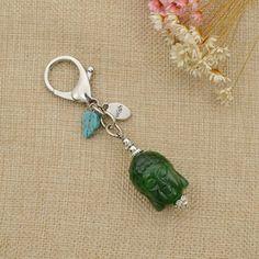 Amazon.com: Green BUDDHA Keychains Buddha Head Plastic Beads Tassel Charm…