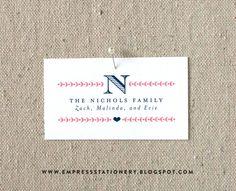 The Nichols Family Calling Card, 2 x 3.5, Initial, heart, laurel, family social correspondence, gift enclosure