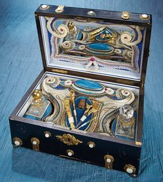 Antique Needlework Tools and Sewing: 129 Exquisite French Sewing Box with Music Box and Gold Sewing Tools