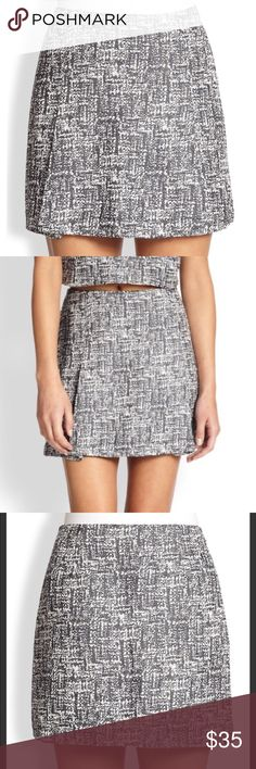 """JOIE - Black Gray Tweed Print Mini Skirt Medium JOIE Black / Gray Tweed Print Mini Skirt   Size Medium Excellent Like New Condition! Retail $154.00  Measurements (flat): Waist - 15.25"""" Hips - 18"""" Length - 15""""  40% Cotton 39% Viscose 20% Polyester 1% Other  Bundles Welcome! NO PAYPAL! Please allow 2 days handling!  Thank you! 😊 Joie Skirts Mini"""
