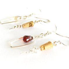 Wine Lovers Earrings. Sterling Silver Champagne Quartz White Wine Bottle and Cork Screw Earrings