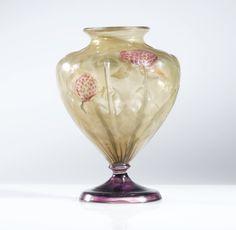 Emile Gallé VASE FLEURS DE TRÈFLE VIOLET, VERS 1898-1900 A MARQUETERIE SUR VERRE, WHEEL-CARVED BLOWN GLASS, WITH APPLIED FOOT, CIRCA 1898-1900.