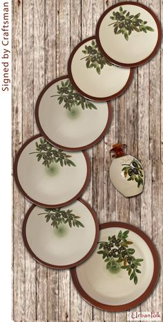 A rustic assortment of Ceramic Tableware platter plates side plates u0026 oil/vinegar bottle. All handmade of fine red clay and hand-painted with artistic ... & Mediterranean crockery with hand-engraved u0026 on top hand-painted ...