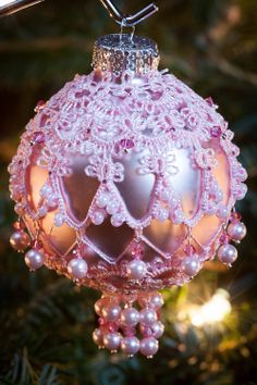 Tatted Beaded Christmas Ornament: Needle Tatting Lace Baby Pink Rose with Crystal Christmas Ball. $25.00, via Etsy.