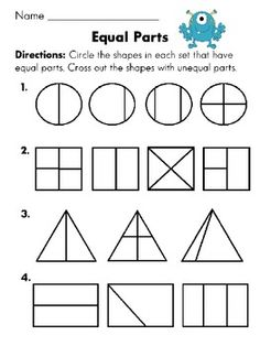 Equal parts or not equal parts worksheet (Fun with Fractions First Grade Common Core Packet)