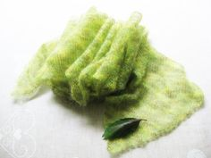 Green mohair scarf multicoloured mohair shawl yellow by Renavere, $35.00