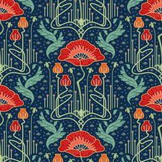 art nouveau poppy red wallpaper custom fabric by bamokreativ for sale on Spoonflower Art Nouveau Pattern, Art Nouveau Design, Design Art, Art And Craft Design, Graphic Design, Art Nouveau Wallpaper, Dark Wallpaper, Fabric Wallpaper, Disney Wallpaper