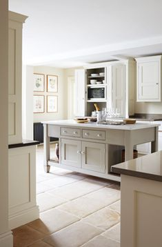 Grey kitchen white work tops. Perfect