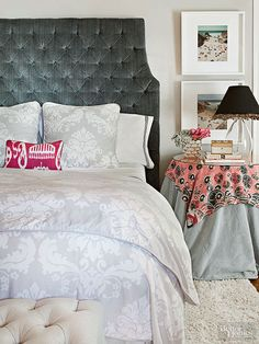 The skirted tables that you loved so much in the 1990s are back in style and ready to take back their place beside to your bed or sofa. To update the look, consider layering linens (a global-inspired scarf is up to the minute) and add a glass top. Skip the lace doily and save the chintz for something else.