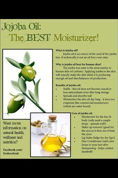 Jojoba oil, the best moisturizer What Is Jojoba Oil, Jojoba Oil Uses, Natural Healing, Natural Oils, Natural Skin Care, Natural Beauty, Natural Hair, Healing Oils, Aromatherapy Oils