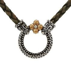"""Barbara Bixby Sterling/18K 32"""" Braided Leather Cord Necklace"""