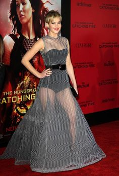 Jennifer Lawrence in an edgy see-through Dior gown