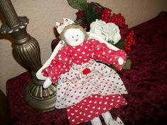 Angel Doll Valentine's Day Red White Heart Hand by Holiday365