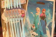 10 ten Party loot lolly bags and straws Anna Elsa Olaf princess frozen