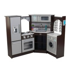 Encourage creative playtime with this toy kitchen, which uses lights and sound effects to keep your children engaged. The large kitchen slips into a corner for space-efficient storage and offers ample
