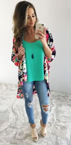 Not a fan of ripped/distressed jeans but I love the top and kimono!