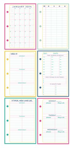Calendars & schedules to go with the TIME MGMT section of my Life Planner. I've included several different options, so hopefully you'll find one that works for you!