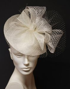White Fascinator Hat  Couture White Sinamay by MargeIilane on Etsy, $74.90
