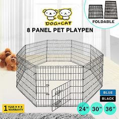 Cages and Crates 121851: 24''30'' 36'' 8 Panel Pet Playpen Dog Cage Kennel Crate Metal Enclosure Fence BUY IT NOW ONLY: $30.9