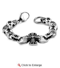 Stainless Steel Iron Crosses Skull Bracelet