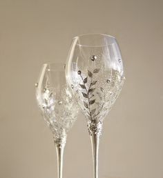 Hand Painted Wine Wedding Anniversary Glasses Silver Floral Design and Swarovski Crystals Set of 2. $54.80, via Etsy.