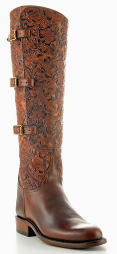 Steamer style/Lucchese Intricately Floral Tooled Leather Boots. Take a good look at the detail in this boot....stunning!