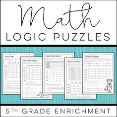 Build critical thinking and problem solving skills, along with a solid understanding of 5th grade math concepts, with these Math Logic Puzzles!  Fun and engaging these enrichment puzzles for kids will challenge your high flyers and fast finishers!