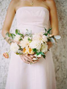 Pretty dahlia bouquet: http://www.stylemepretty.com/virginia-weddings/rivanna-virginia/2015/10/12/romantic-keswick-vineyards-wedding/   Photography: Adam Barnes - http://www.adambarnes.com/
