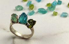 Raw Apatite Peridot Rough Three Gemstone Statement by byAngeline
