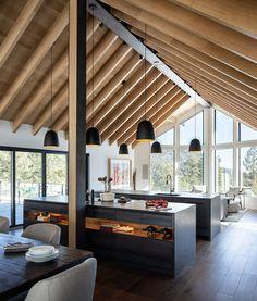 Modern Cabin Interior, Cabin Interior Design, Cabin Design, House Design, Modern Cabins, Natural Interior, Modern Houses, Rustic Modern Cabin, Modern Wood House