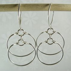 Cloverleaf Handcrafted Jewelry at Etsy ECLIPSE EARRINGS, sterling silver double circle hoop earrings #SterlingSilver #DangleEarrings #LongEarrings