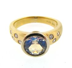 White and Yellow Gold Moonstone and Diamond Ring by Watsonandson