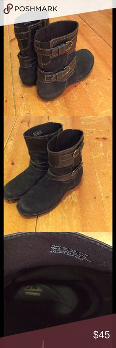 """Clarks boots sz 9 1/2 Cute Clarks boots black suede with smooth leather straps and silver tone buckles shaft hight 7 1/2"""" circumference 13"""" super comfortable love these I just have too many boots!!!! Clarks Shoes Ankle Boots & Booties"""