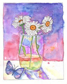 aquarellierte Skizze, Blumen i. Glas m. Schmetterling