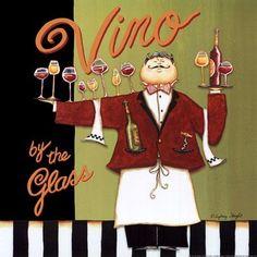 "Wine Art - ""Vino by the glass"" by Sydney Wright #WineWaiter"