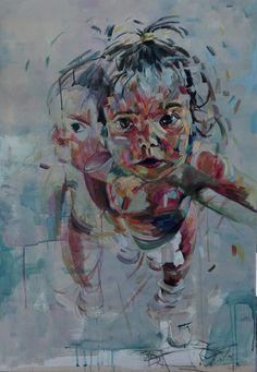 """""""iliana"""" acrylic portrait by tasos bousdoukos"""