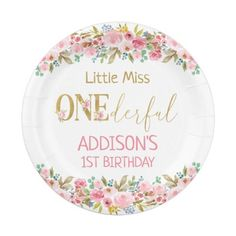 Floral Little Miss Onederful First Birthday Paper Plate: Floral Little Miss Onederful First Birthday Paper Plate $1.60 by Sugar_Puff_Kids Sugar Puffs, Little Miss, Paper Plates, First Birthdays, Decorative Plates, Floral, Kids, Young Children, One Year Birthday
