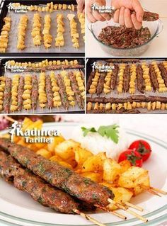 Baked Garbage Shish Meatballs And Potato Recipe, How To? - Womanly Recipes - Delicious, Practical and Delicious Food Recipes Site - Baked Garbage Shish Meatballs and Potato Recipe - Meatballs Recipe Video, Meatballs And Potatoes Recipe, Iftar, Plats Ramadan, Turkish Recipes, Ethnic Recipes, Good Food, Yummy Food, Albondigas