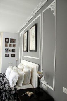 farbideen-schlafzimme-graue-wandfarbe-weisse-stuckdekorationen