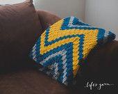 CROCHET PATTERN. Crochet Verticle Chevron Blanket. Crochet Pattern #602