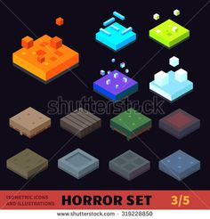 Isometric horror vector tile set. Tiles: fire, flame, ice, snow, grass, boardwalk, graveyard, lava, concrete, sand. For halloween, horror games and cartoons.